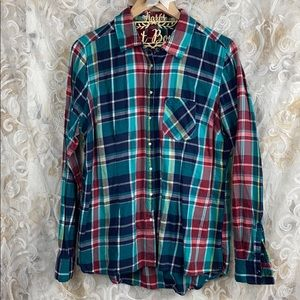 Maurices colorful plaid flannel pearl snap shirt 1